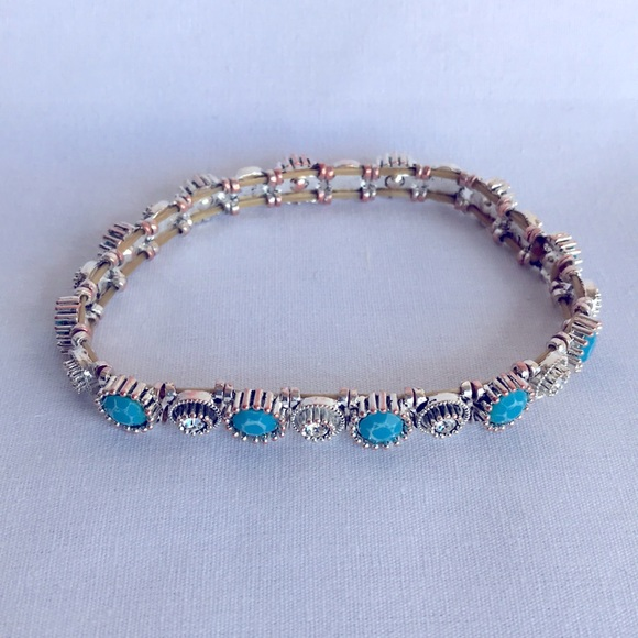 Silver tone and turquoise tone bracelet